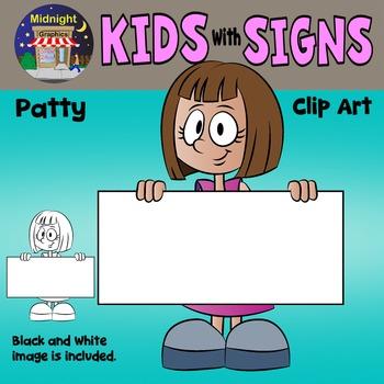School Kids Holding Signs Clip Art - Patty