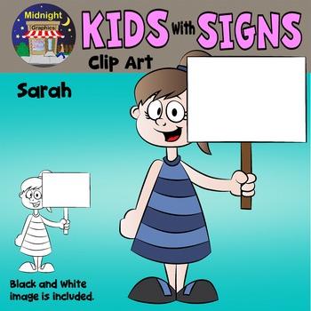 School Kids Holding Signs Clip Art - Sarah 1 hand