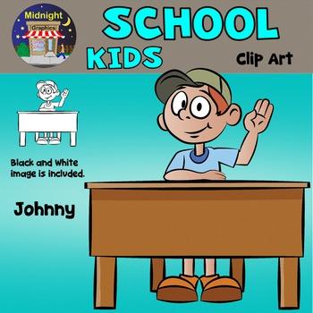 School Kids Clip Art - Johnny at Desk