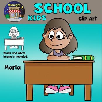School Kids Clip Art - Maria at Desk
