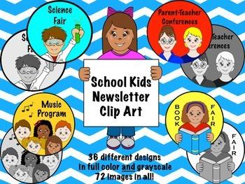 School Kids Newsletter Clip Art