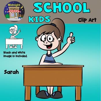 School Kids Clip Art - Sarah at Desk