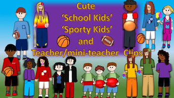 School Kids Sporty Kids Lower and Upper Elementary Clipart
