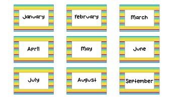Classroom Calendar Set - School Kids Striped