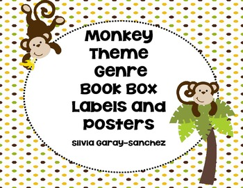 Monkey Theme Genre Book Basket Labels and Posters