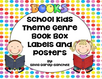 School Kids Theme Genre Book Basket Labels and Posters