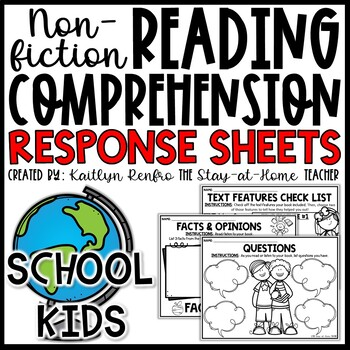 School Kids Themed Nonfiction Reading Response Worksheets