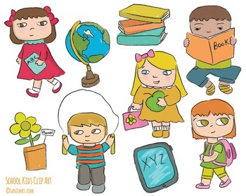 School Kids clip art - Hand drawn clip art Includes Black Line Art!