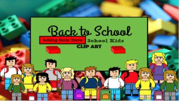 School Kids clip art : Building Block theme