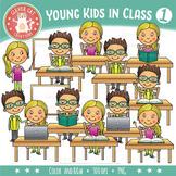 School Kids in Class Clip Art – Set 1