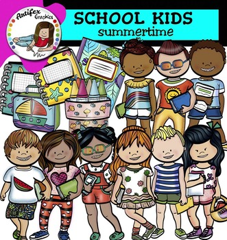 School Kids- summertime clip art