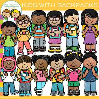 School Kids with Backpacks Clip Art