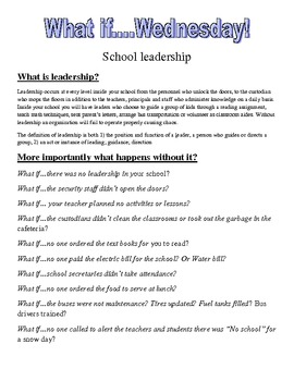 School Leadership writing assignment