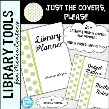 Library Binder/Planner COVERS ONLY: Editable Green Polkadot