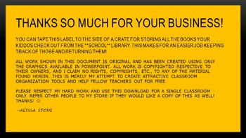 School Library Books Crate Label - Bee Theme Colors (Black & Gold)