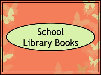 School Library Books Crate Label - Coral Butterfly Theme