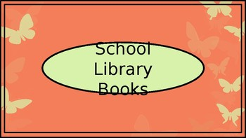 School Library Books Crate Label - Coral Butterfly Theme - Wide