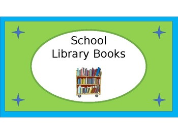 School Library Books Crate Label - Lime & Teal - with Clipart