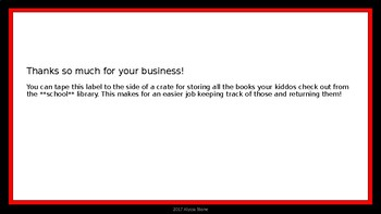 School Library Books Crate Label - Red & Black