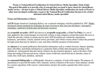School Library Media Specialists Study Guide
