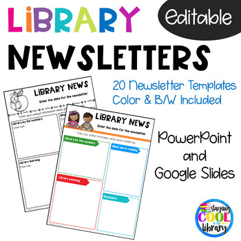 school library newsletter templates editable and digital tpt