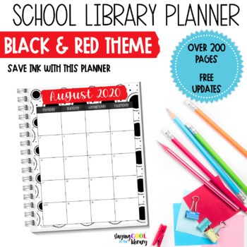 School Library Planner - Black and Red Theme