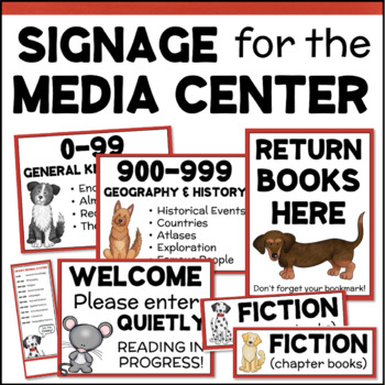 School Library Signage - Dewey Decimal Posters, Shelf Signs for the Media Center