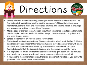 School Library Task Cards – 30 Card Set – Back to School - Back to the Library!