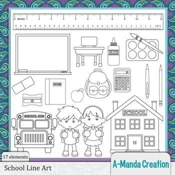 School Line Art and Digital Stamps