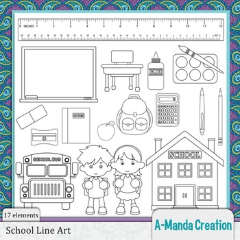 School Line Art and Digital Stamps