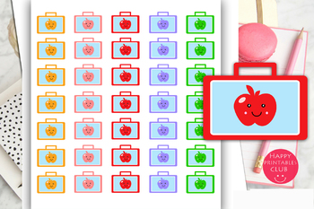 School Lunch Box Planner Stickers-School Bag Planner Stickers