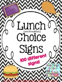 School Lunch Choice Signs - Black & White Chevron