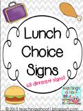 School Lunch Choice Signs - Gray & White Chevron