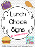 School Lunch Choice Signs - Gray & White Chevron