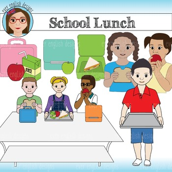 Kids at Lunch Clip Art