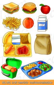 School Lunch Clipart Set, Kids Meals