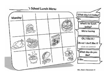 School Lunch Menu Worksheet ESL