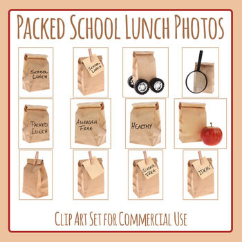 School Lunch Photos Clip Art Set for Commercial Use