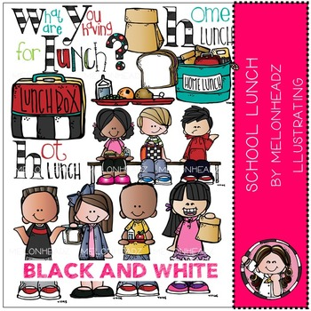 School Lunch clip art - BLACK AND WHITE - by Melonheadz