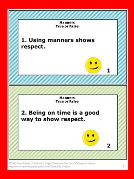 Manners School Behavior Review Activity