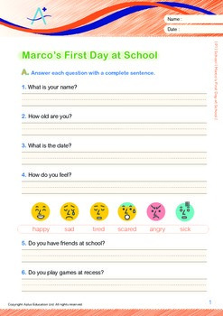 School - Marco's First Day at School (with 'Triple-Track Writing Lines')