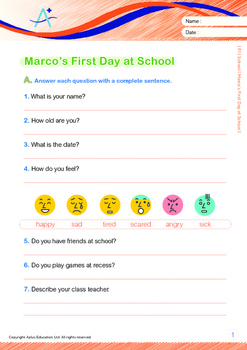 School - Marco's First Day at School - Grade 1