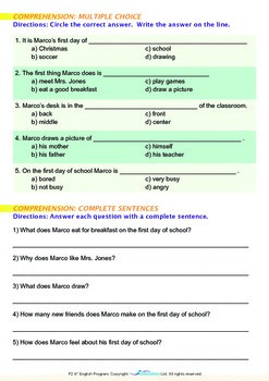 School - Marco's First Day of School - Grade 2