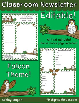 School Mascot - Falcons - Editable Newsletter Template