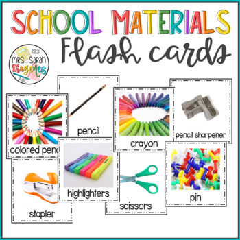 School Materials Flash Cards with Real Pictures