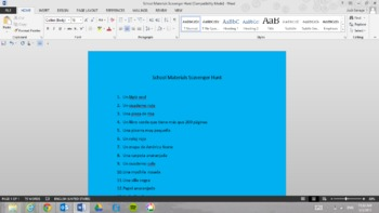 School Materials Scavenger Hunt!!!!  (In Spanish)