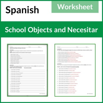Spanish School Materials Writing w/Necesitar, Answer Key Included