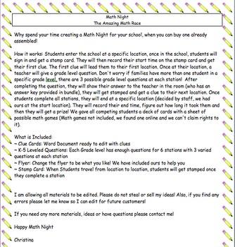 School Math Night: The Amazing Math Race!