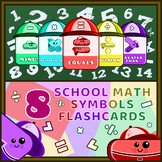 School Math Symbols Flashcards With Cool Hats