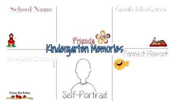 School Memories End-of-Year Placemat KINDERGARTEN